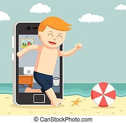 aller, smartphone, vacances, homme, creux