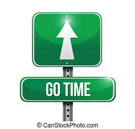 aller, temps, conception, illustration, signe