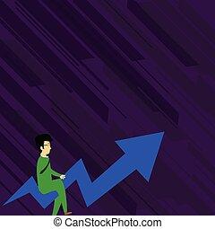 aller, upward., lunettes, financier, business, pointage, reussite, couleur, idée, illustration, créatif, tordu, report., fond, flèche, homme affaires, équitation, présentation