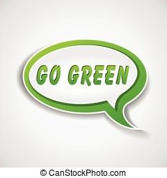 aller, vert, bulle discours
