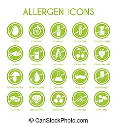 allergen - Allergen icons vector set
