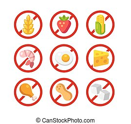 Set of ingredient warning icons with common allergens: gluten, dairy, shellfish, peanuts, eggs and more.