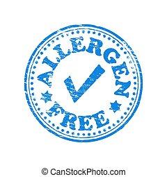 Allergen free round rubber stamp vector illustration