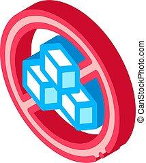 Allergen Free Sign Sugar isometric icon vector illustration