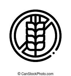 Allergen Free Sign Wheat Vector Thin Line Icon