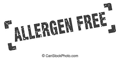 allergen free stamp. square grunge sign isolated on white background