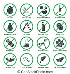 Allergen icons vector set. - Food allergen icons set. Vector...