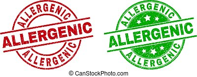 Round ALLERGENIC seal stamps. Flat vector scratched seal stamps with ALLERGENIC title inside circle and lines, in red and green colors. Stamp imprints with grunged surface.
