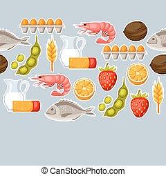 allergens, ウェブサイト, symbols., 食物, パターン, 医学, アレルギー, seamless, ...
