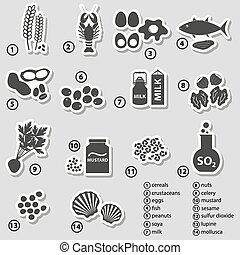 allergens, ensemble, eps10, nourriture, typique, autocollants, restaurants
