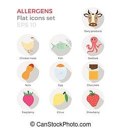 Allergens flat icons set