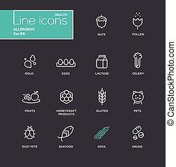 allergens, satz, einfache , -, heiligenbilder, pictograms, design, dünne linie