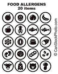 allergens, set, 20, cibo, articoli, icona