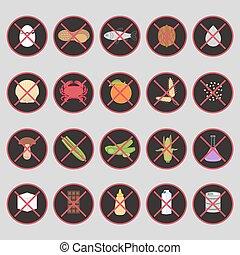 allergens, set, cibo, etichette, vettore, avvertimento