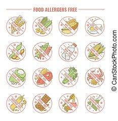 allergens, set, icone, allergie, etichette, libero, prodotti, intolerance.