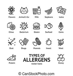 Allergens Signs Black Thin Line Icon Set. Vector