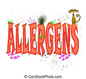 """Whimsical typography design in red caps illustrating the word """"Allergens"""""""