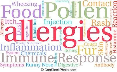 allergiák, szó, felhő