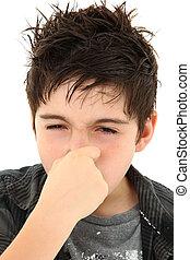 allergi, stinky, ansikte, uttryck