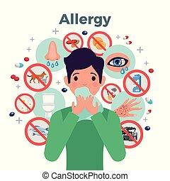 allergia, concetto, illustrazione