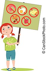 Allergic girl - Cute cartoon girl holding a poster with...