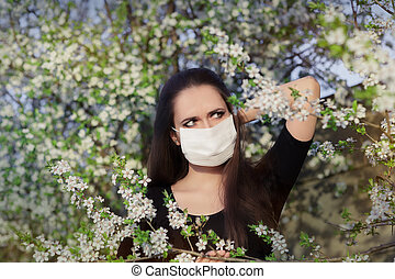 Allergic Girl with Respirator Mask - Portrait of an allergic...