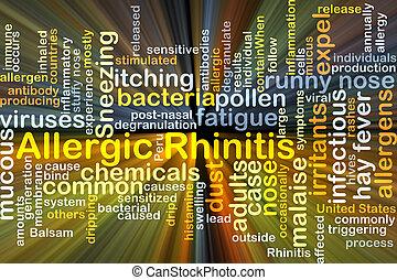 Allergic rhinitis background concept glowing