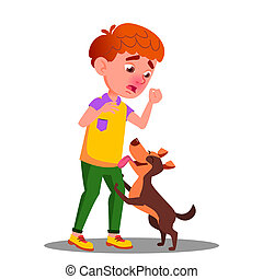 Allergic, Sneezing Boy With A Dog Vector. Isolated Cartoon...