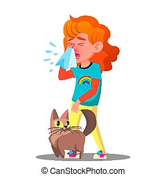 Allergic, Sneezing Girl With A Cat Vector. Isolated Cartoon...