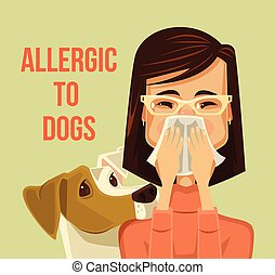 Allergic to dogs. Vector flat cartoon illustration