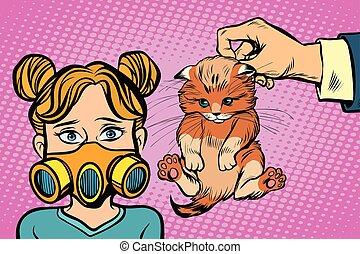 allergic to the cat. Comic book cartoon pop art retro ...