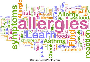 allergieën, woord, wolk