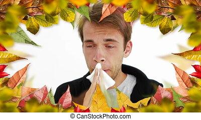 allergie, 4k, cadre, feuilles, éternuer, homme, automne