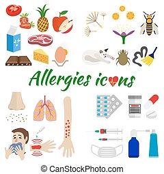 allergie, ensemble, icônes