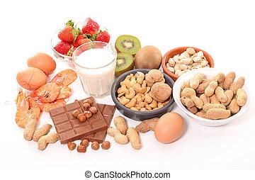 allergie, geassorteerd, voedingsmiddelen