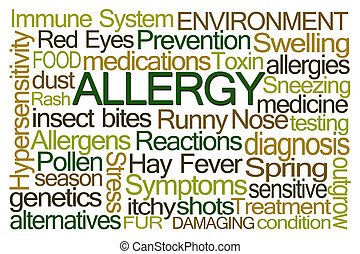 allergie, mot, nuage