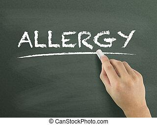 allergie, woord, geschreven, door, hand