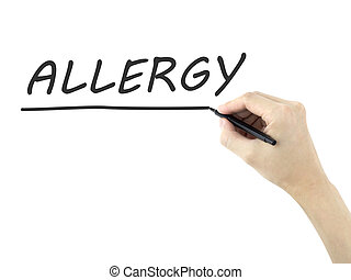 allergie, woord, geschreven, door, hand van de man