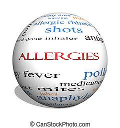 Allergies 3D sphere Word Cloud Concept