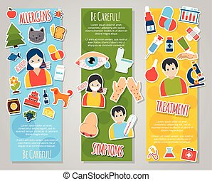 Allergies Banner Set - Allergies vertical banner set with...