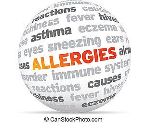 Allergies - 3d Allergies Word Sphere on white background.