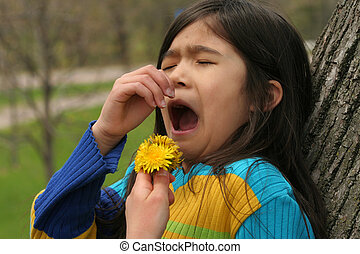 Girl allergic to dandelion flower