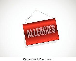 allergies, signe, illustration, pendre