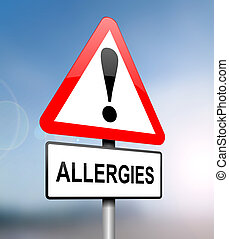 Illustration depicting a red and white triangular warning sign with an 'allergies' concept. Blurred blue sky background.