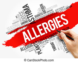 Allergies word cloud collage, health concept