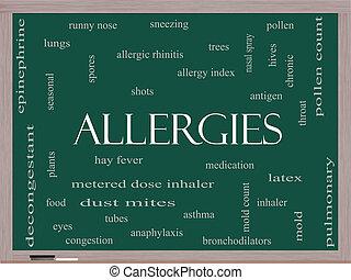 Allergies Word Cloud Concept on a Blackboard