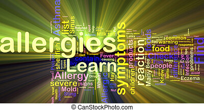 Allergies word cloud glowing - Word cloud concept...