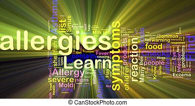 Allergies word cloud glowing - Word cloud concept...