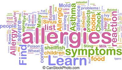 Word cloud concept illustration of allergies symptoms