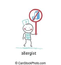allergist, hält, verbieten, milch, zeichen